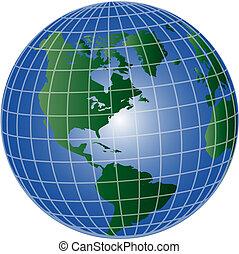 globe, nord, et, amérique sud