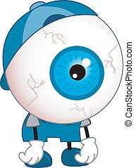 globe oculaire, fatigué, mascotte
