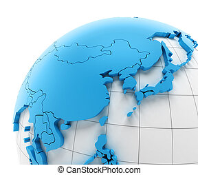 Globe of Asia with national borders
