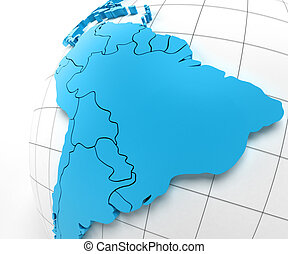 Globe of Brazil with national borders