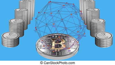 Animation of globe spinning and stacks of silver bitcoins on blue background. Cryptocurrency virtual global finance business concept digitally generated image.