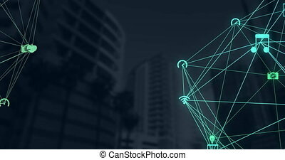 Digital composite video of Network of connection icons over tall buildings against black background. Global networking and business concept