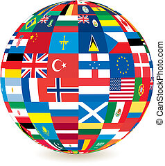 globe of flags - globe of world flags with a drop shadow ...