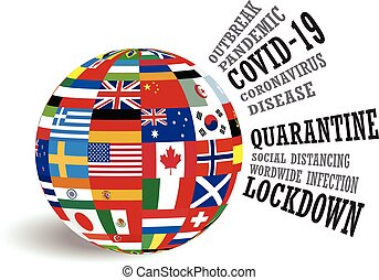 Globe of international country flags with covid-19 coronavirus pandemic awareness conceptual design vector illustration