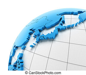 Globe of Japan with national borders