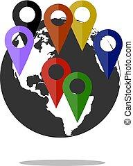 Globe of network icon on white background . Vector illustration Flat