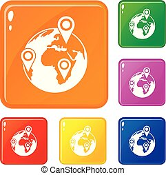 Globe of network icons set vector color