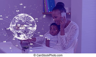 Animation of globe with network of connections over woman with baby talking on smartphone using laptop at home. Global online network digital interface technology concept digitally generated image.