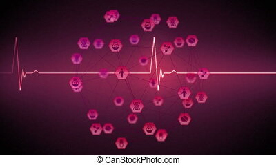 Animation of digital interface with heart rate monitor and medical icons forming globe on pink background. Global computer network technology concept digitally generated image.