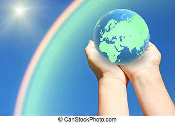 globe of planet earth in hands