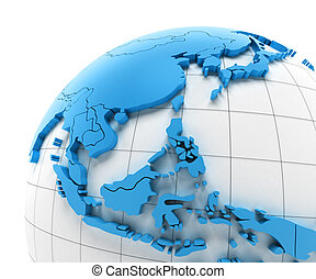 Globe of Southeast Asia with national borders
