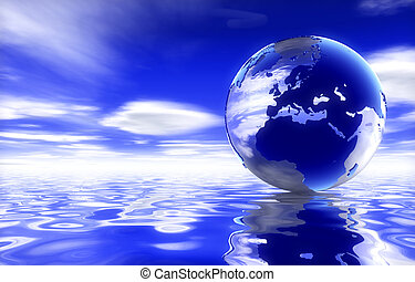 Globe showing uk over water