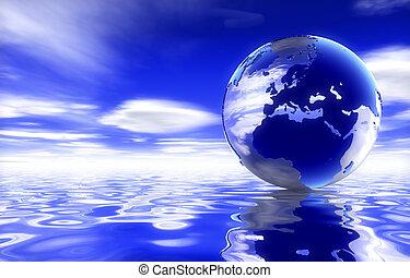 Globe of UK - Globe showing uk over water