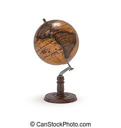 Globe old map of earth 3d rendering