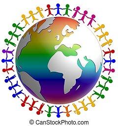globe, omringde, mensen