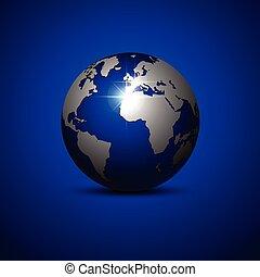 Globe on a blue background. Vector illustration.