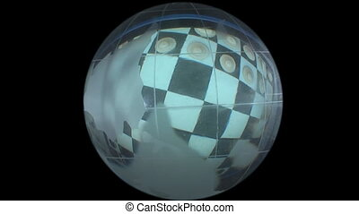 globe on a checkerboard background
