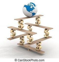 globe on a financial pyramid. 3D image.