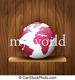 Globe on a wooden background