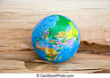Globe on a wooden surface