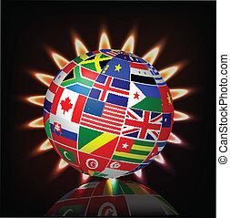 Globe on abstract spectrum backgro