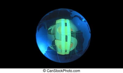 globe on background dollar symbol