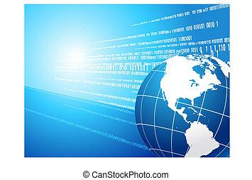 Globe on binary code background