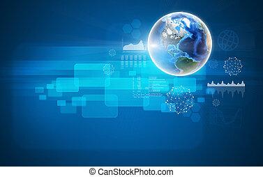 Globe on blue background