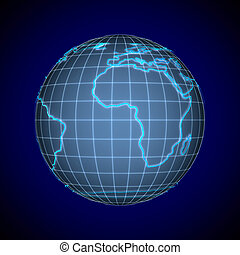 globe on blue background. Isolated 3D illustration