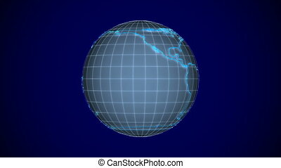 globe on blue background. Isolated 3D render