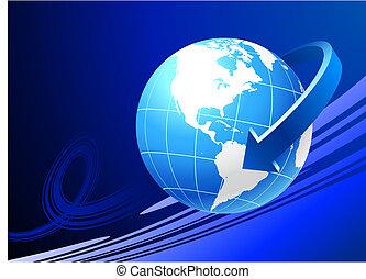 Globe on blue background with arrow