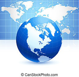 Globe on blue background with world map