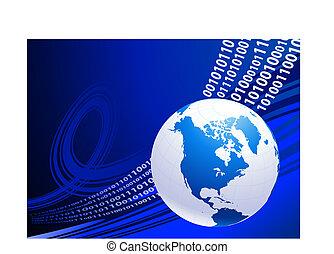 Globe on blue business background