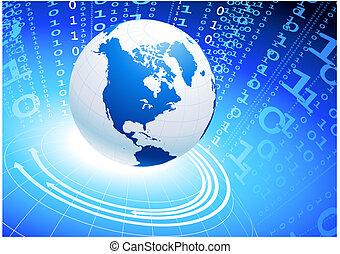 Globe on blue internet background