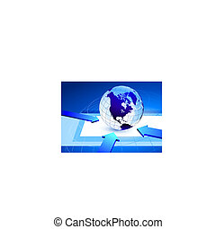 Globe on blue internet background with arrows pointing