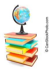Globe on books. On a white background.