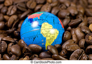 Globe on coffee beans