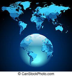 Globe on dark blue World map. Vector illustration.