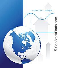 Globe on Graph Background