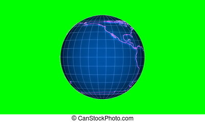 globe on green background. Isolated 3D render