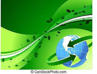 Globe on Green Background