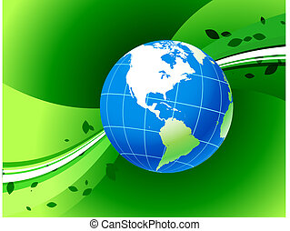 Globe on Green Background
