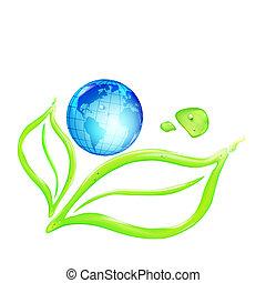 Globe on green leaves