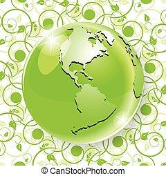 Globe on green pattern