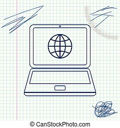 Globe on screen of laptop line sketch icon isolated on white background. Notebook computer with globe sign. Vector Illustration