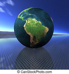 globe on the stripe background