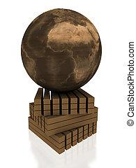 globe on woods