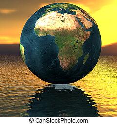 globe, op, de, water