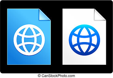 globe, op, papier, set