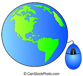 globe or earth connected with computer